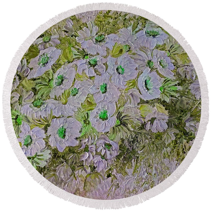 Dasies Floral Botanical Round Beach Towel featuring the painting Daisy Blush 4 by Karin Dawn Kelshall- Best