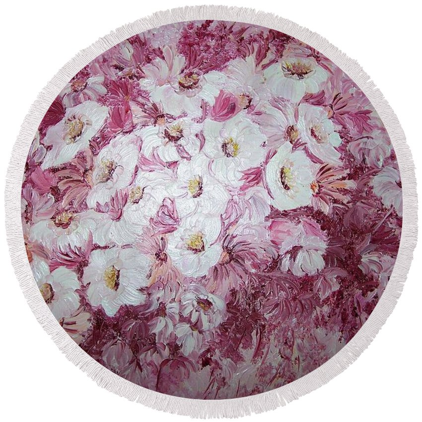 Round Beach Towel featuring the painting Daisy Blush by Karin Dawn Kelshall- Best