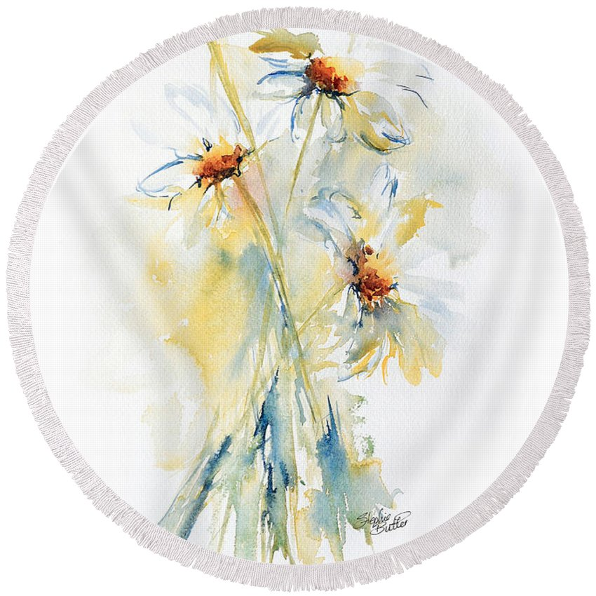 Stephie Round Beach Towel featuring the painting Daisy Bouquet by Stephie Butler