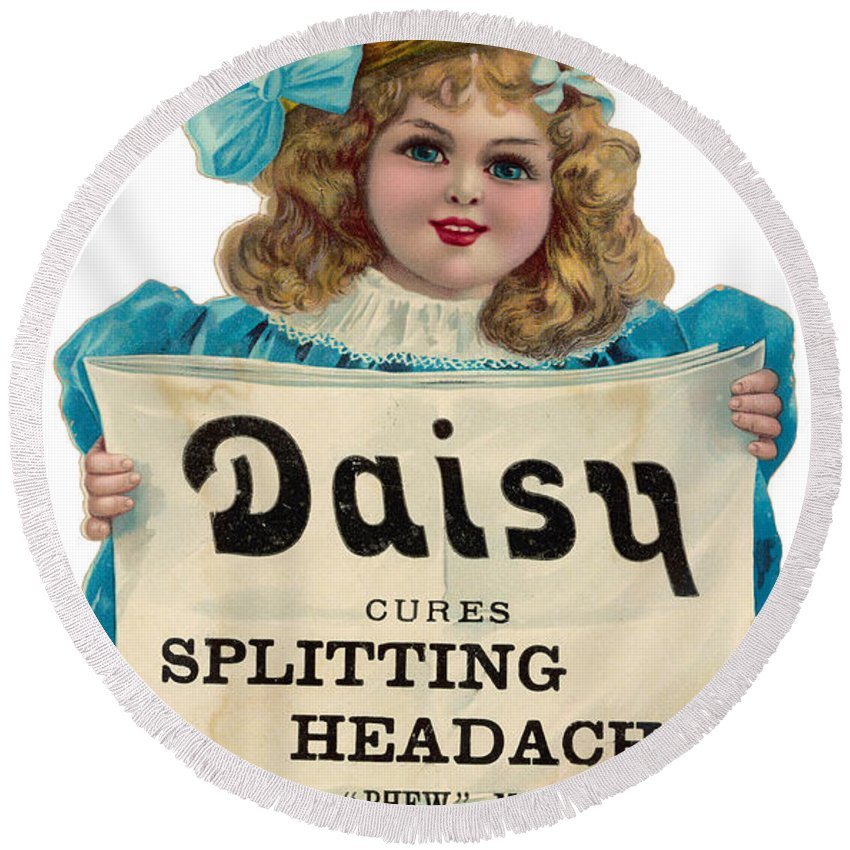 History Round Beach Towel featuring the photograph Daisy Headache Cure by Mary Evans