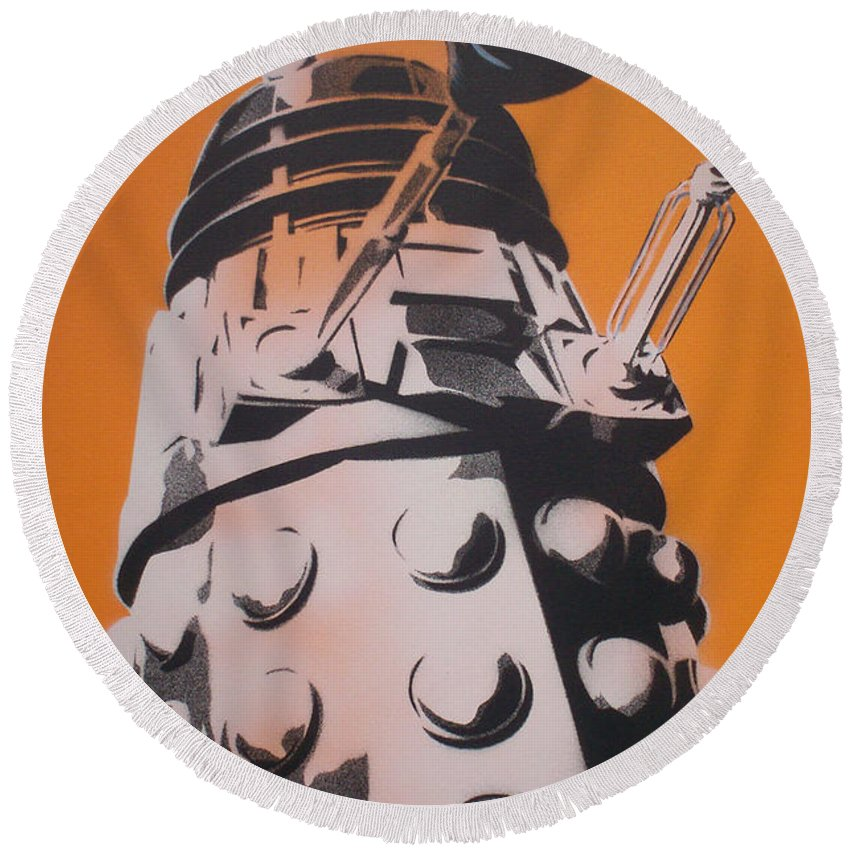 Dr Who Round Beach Towel featuring the painting Dalek by Gary Hogben