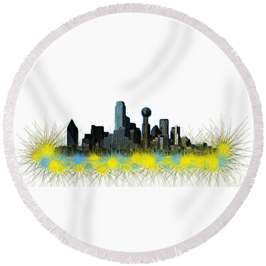 Perspective Round Beach Towel featuring the digital art Dallas Skyline by Mim White