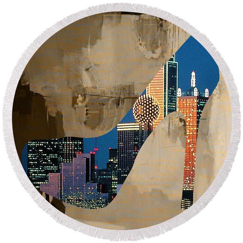 Watercolour Digital Art Round Beach Towel featuring the mixed media Dallas Texas Skyline In A Shoe. by Marvin Blaine