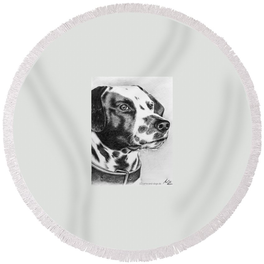 Dog Round Beach Towel featuring the drawing Dalmatian Portrait by Nicole Zeug