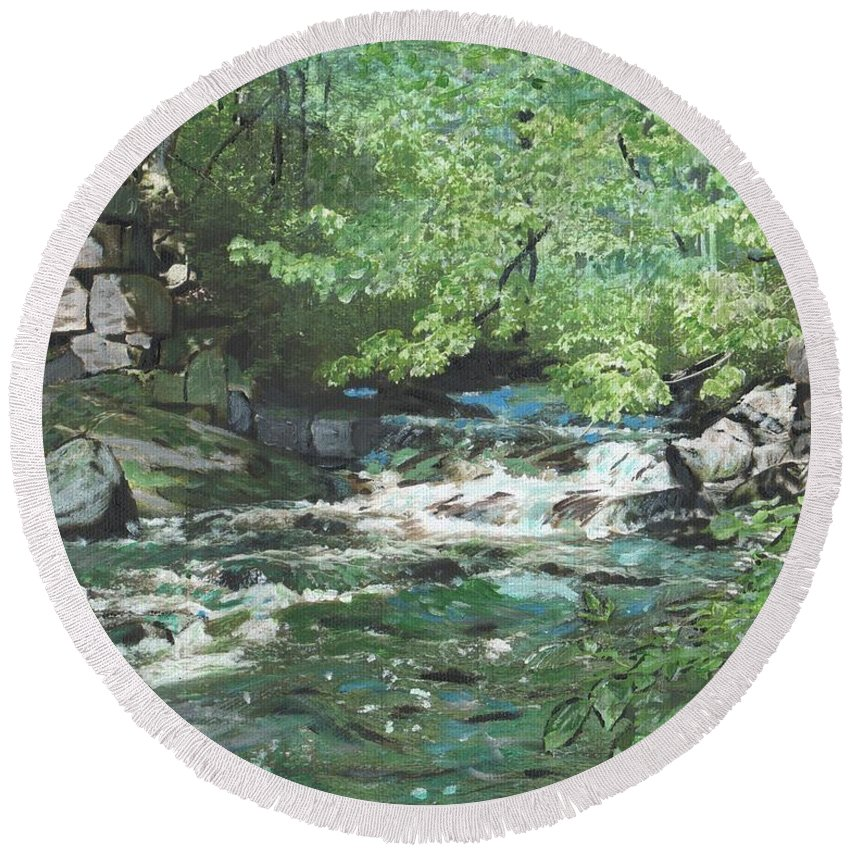 River Round Beach Towel featuring the painting Dam Site by Cliff Wilson