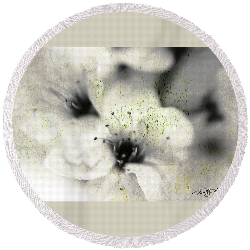Botanical Round Beach Towel featuring the photograph Damaged Blooms by Timothy Bischoff