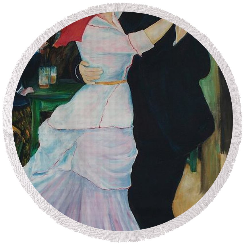 Impressionism Round Beach Towel featuring the painting Dance At Bougival Renoir by Eric Schiabor