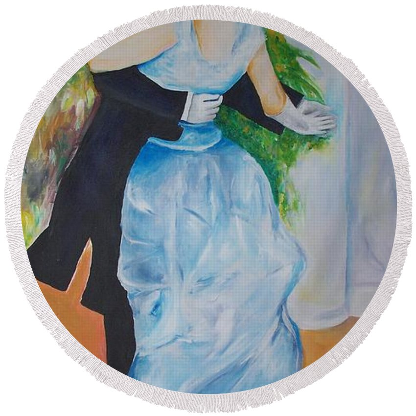 Lavender Round Beach Towel featuring the painting Dance In The City by Eric Schiabor
