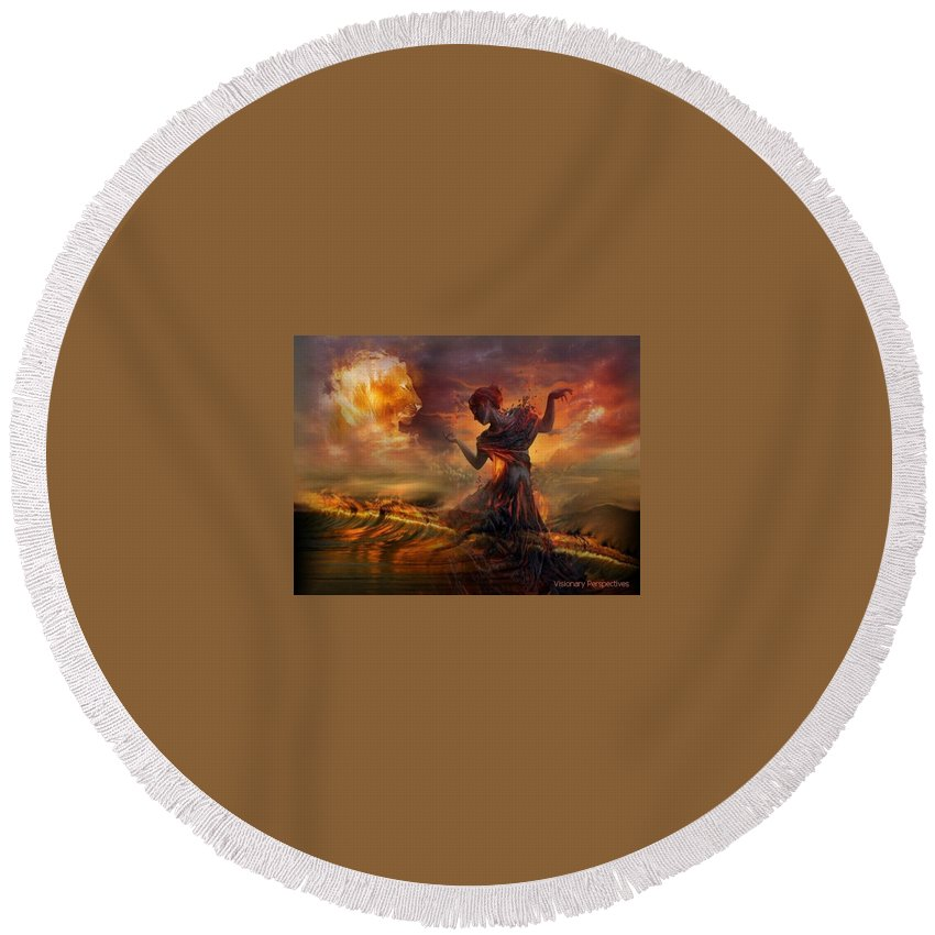 Dance Round Beach Towel featuring the digital art Dance In The Fire by Jewell McChesney