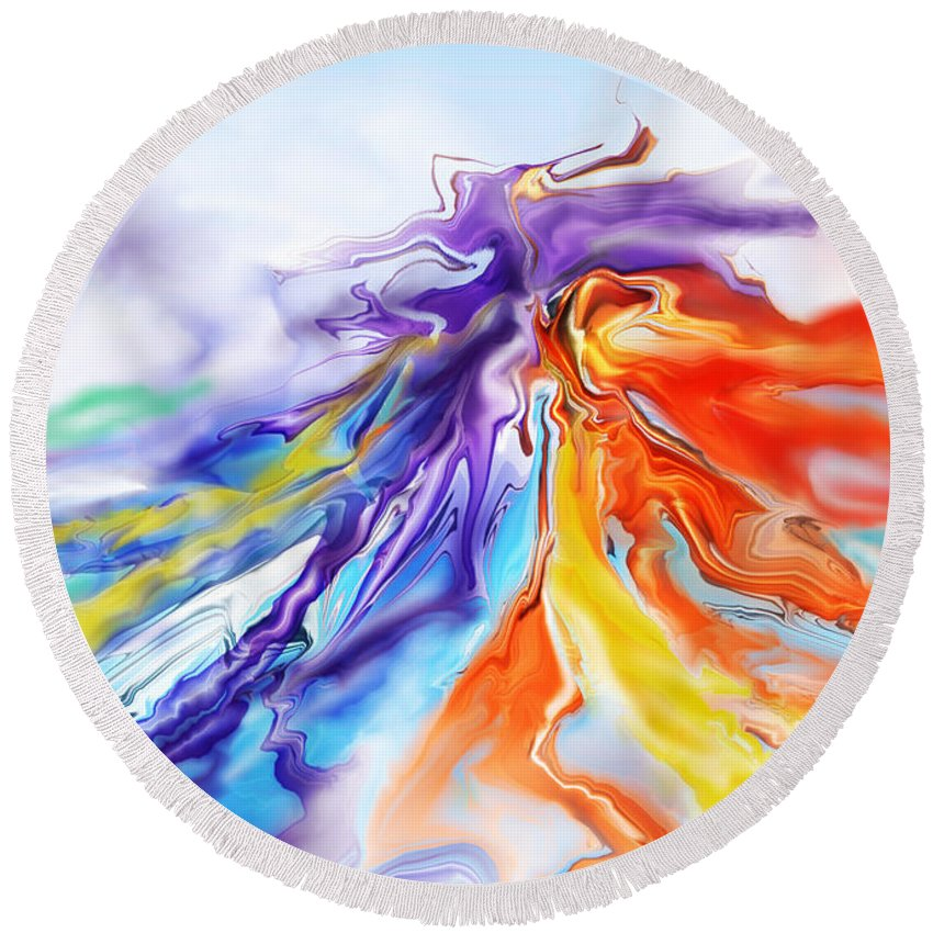 Colorful Round Beach Towel featuring the digital art Dance Of Colors by Lyriel Lyra