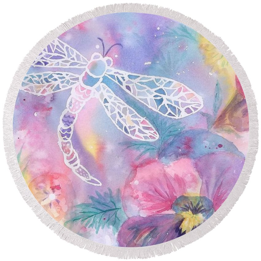 Dragonfly Round Beach Towel featuring the painting Dance Of The Dragonfly by Ellen Levinson