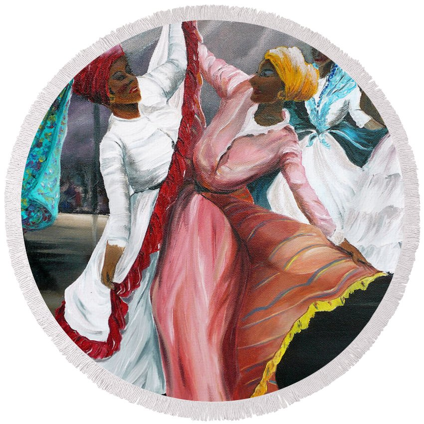 Dancers Folk Caribbean Women Painting Dance Painting Tropical Dance Painting Round Beach Towel featuring the painting Dance The Pique 2 by Karin Dawn Kelshall- Best