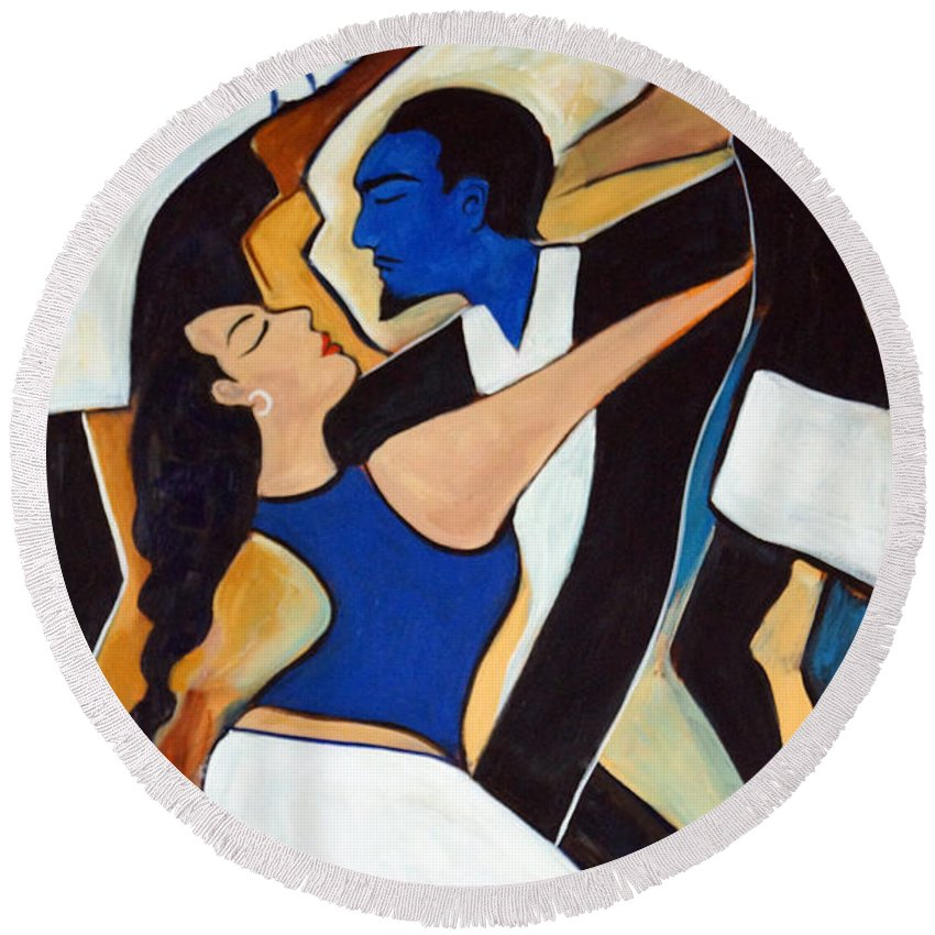 Tango Round Beach Towel featuring the painting Dance with Me by Valerie Vescovi