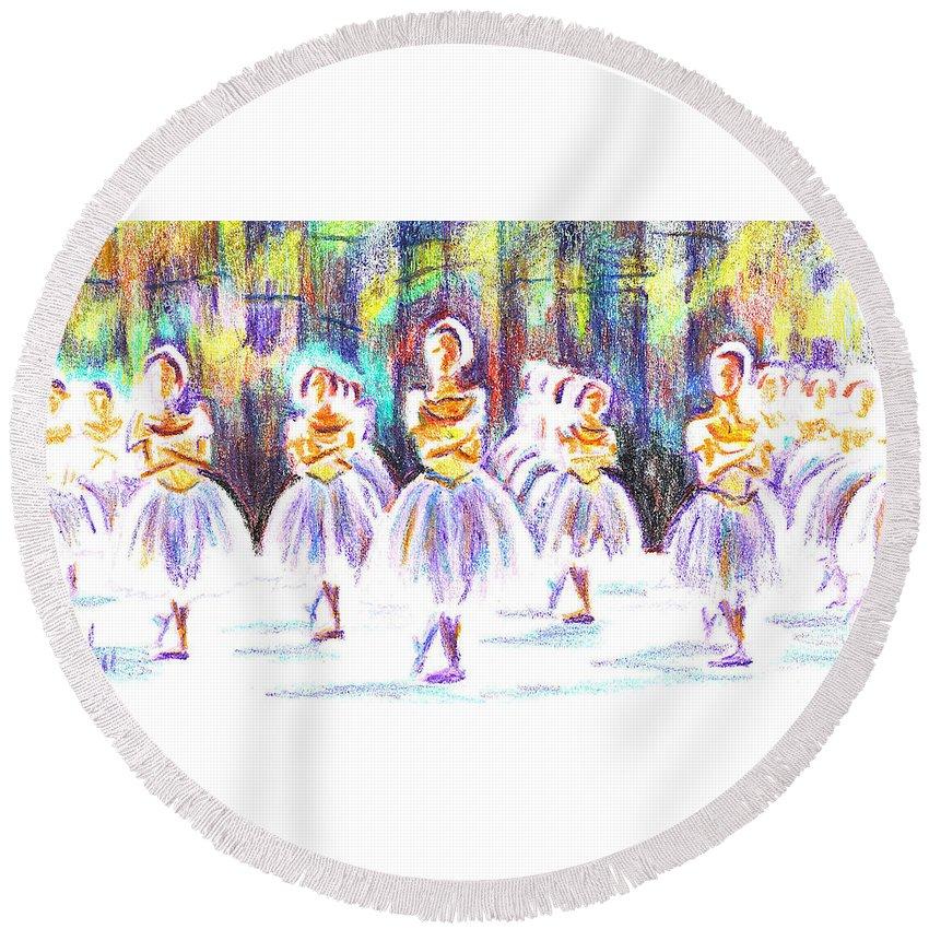 Dancers In The Forest Ii Round Beach Towel featuring the painting Dancers In The Forest II by Kip DeVore