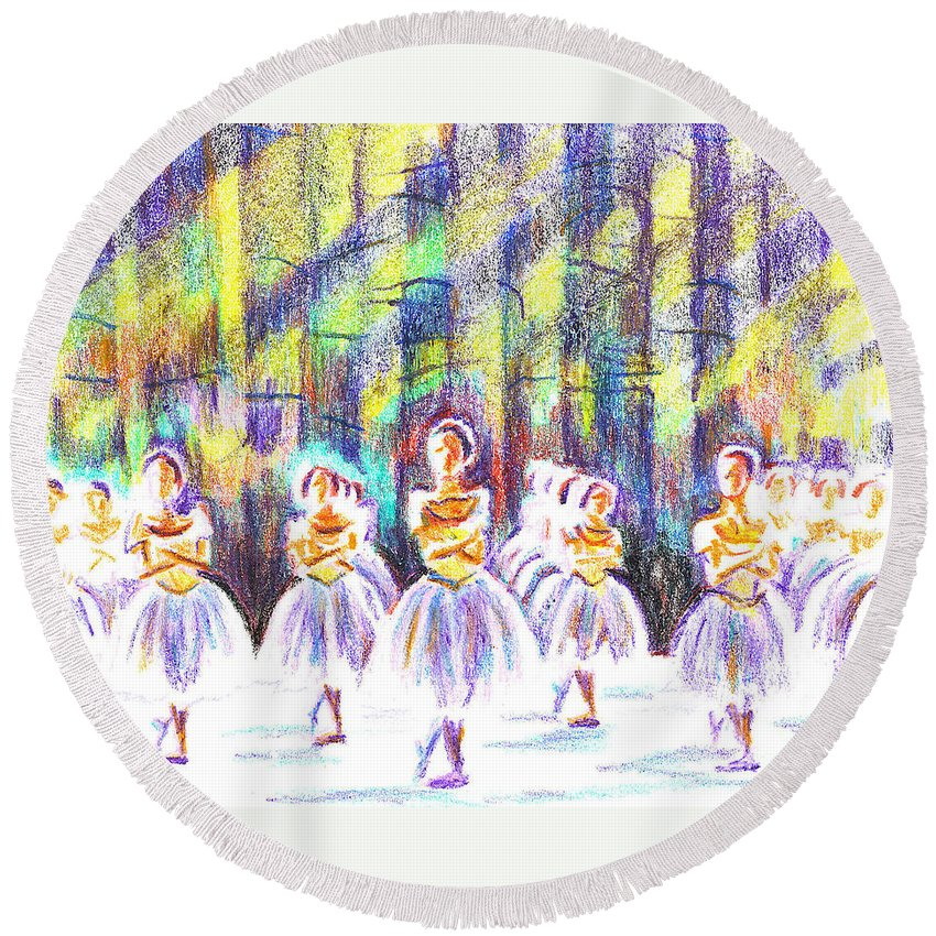 Kipdevore Round Beach Towel featuring the painting Dancers In The Forest by Kip DeVore