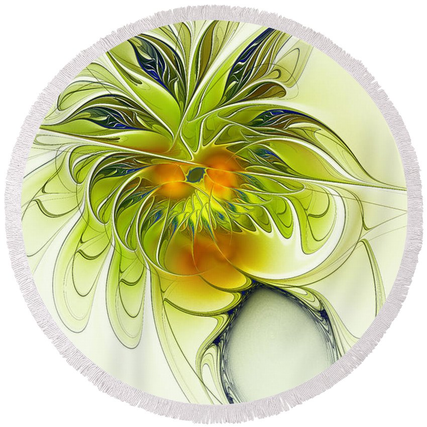 Fractal Round Beach Towel featuring the digital art Dancing Petals by Deborah Benoit