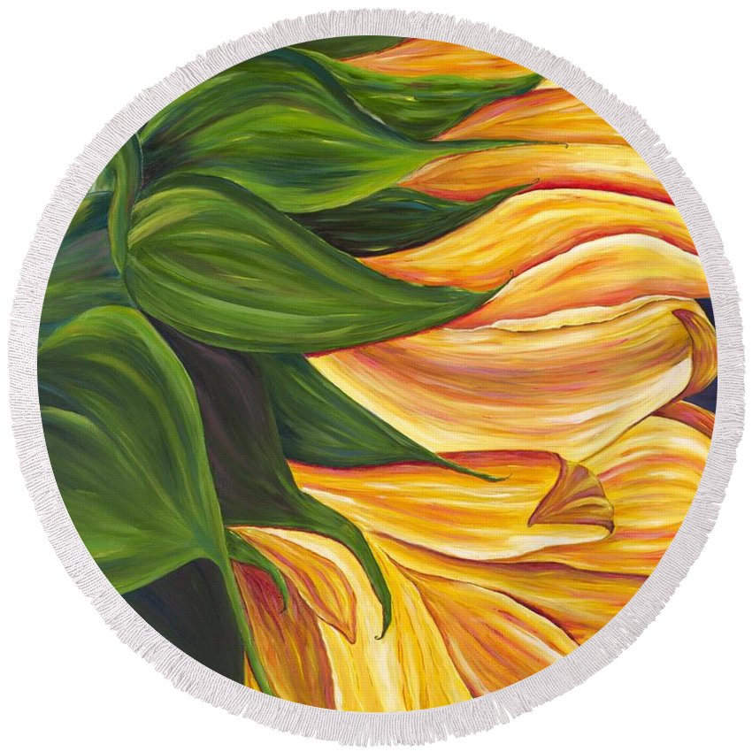 Sunflower Round Beach Towel featuring the painting Dancing Sunflower by Melissa Wallace