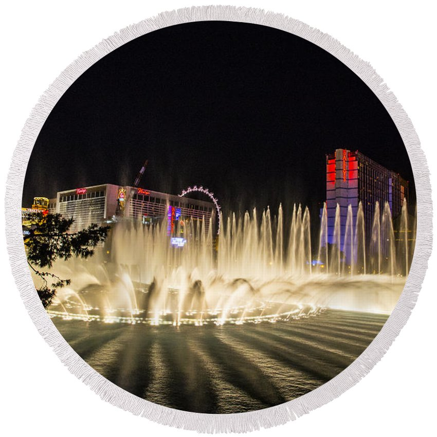 Las Vegas Round Beach Towel featuring the photograph Dancing Waters 6 by Angus Hooper Iii