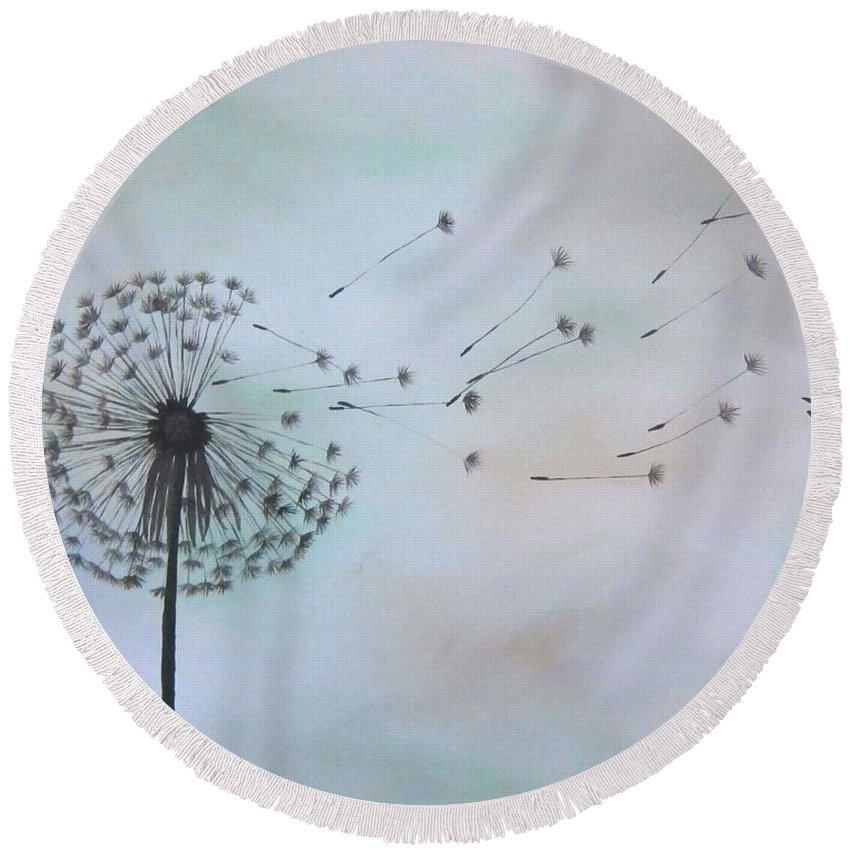Dandelion Round Beach Towel featuring the painting Dandelion Print by Michelle Eshleman