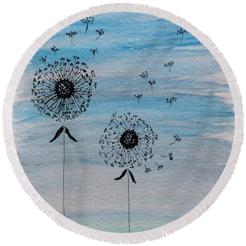 Watercolor Round Beach Towel featuring the painting Dandelion Wind by Gail Nandlal