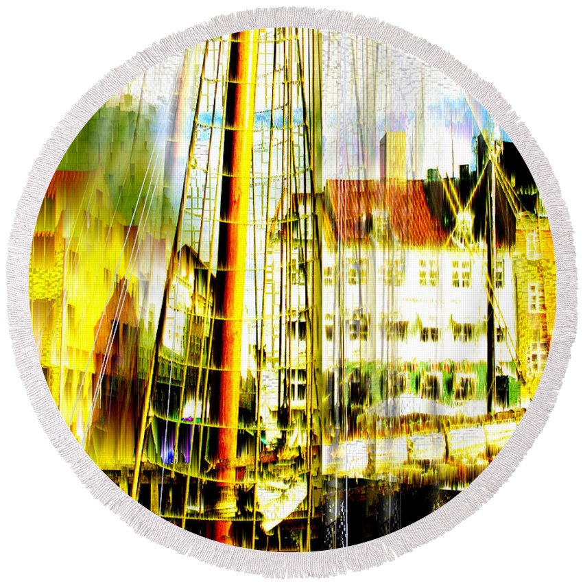 Cityscape Round Beach Towel featuring the photograph Danish Harbor by Seth Weaver