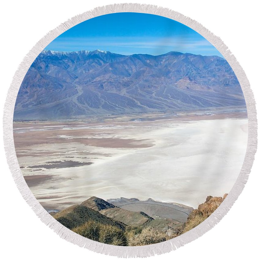 Death Valley Round Beach Towel featuring the photograph Dante's View #3 by Stuart Litoff