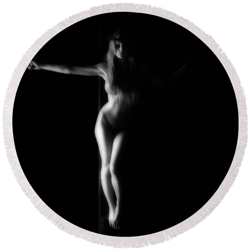 B&w Round Beach Towel featuring the photograph Dark Black And White Crucified Woman by Ramon Martinez