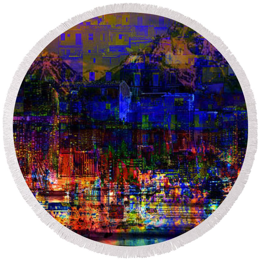 City Round Beach Towel featuring the digital art Dark City Lights Cityscape by Mary Clanahan