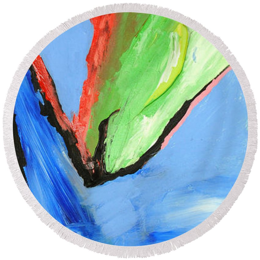 Abstract Round Beach Towel featuring the painting Dark Horse by George D Gordon III