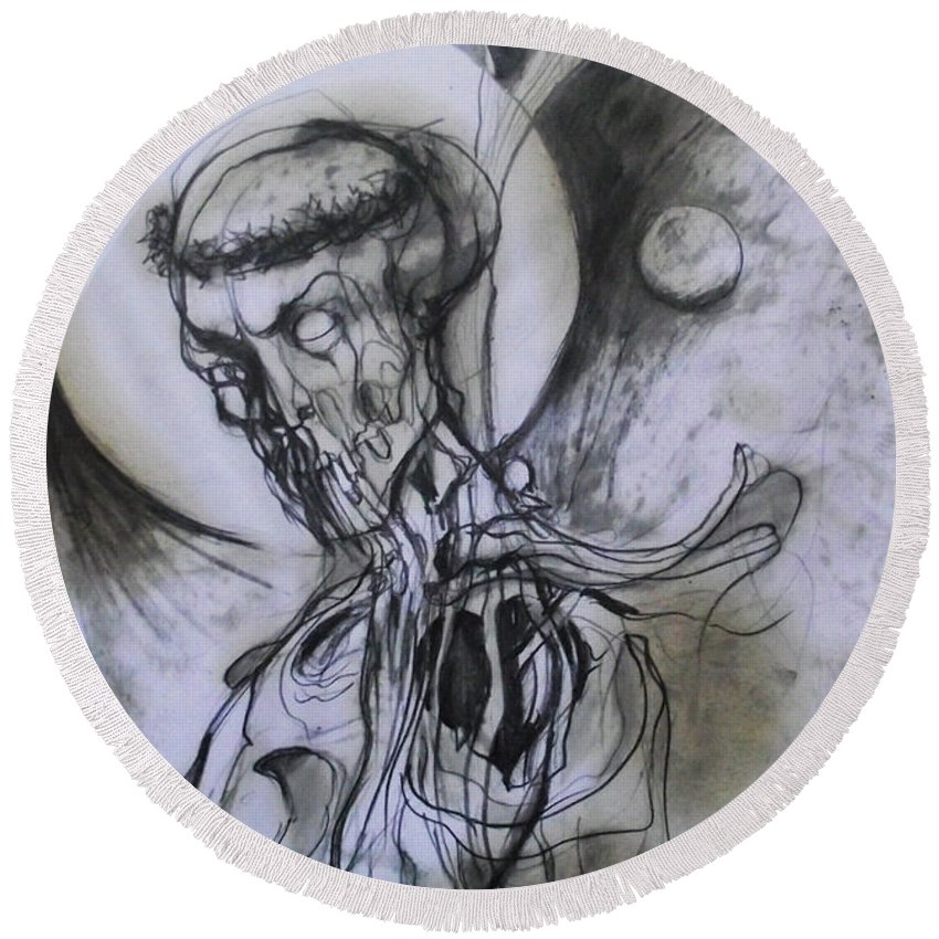 Dark Lord Made By Rifas Round Beach Towel featuring the drawing Dark Lord by Safir Rifas