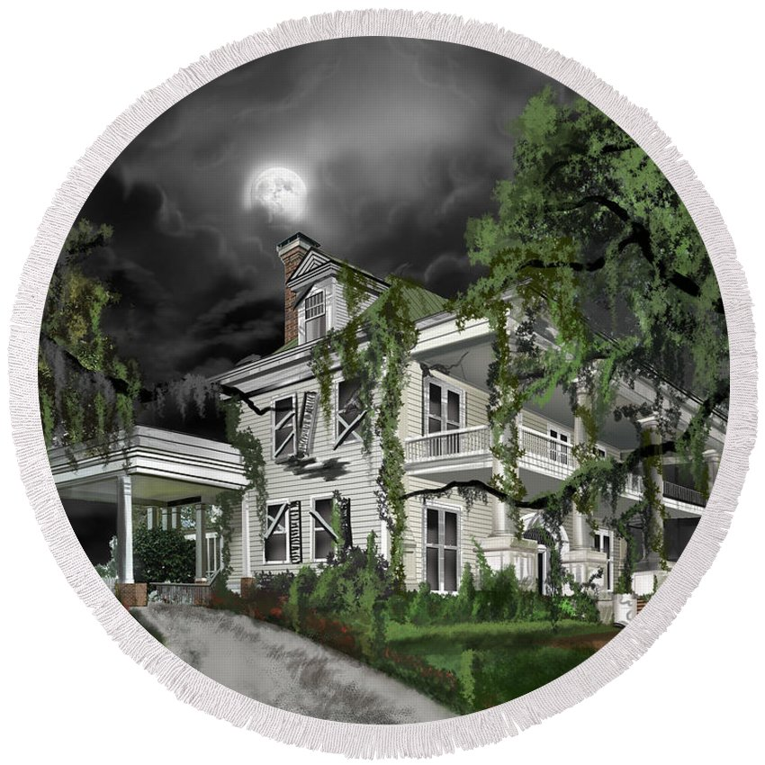 Round Beach Towel featuring the painting Dark Plantation House by James Christopher Hill
