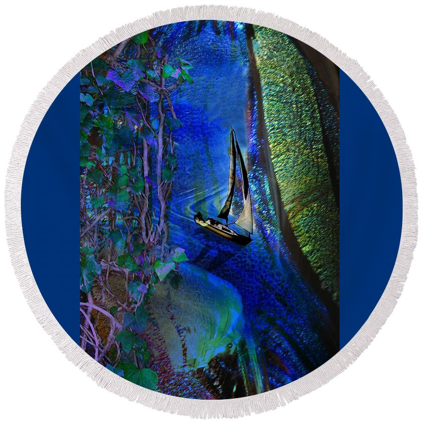 Dark River Round Beach Towel featuring the digital art Dark River by Lisa Yount