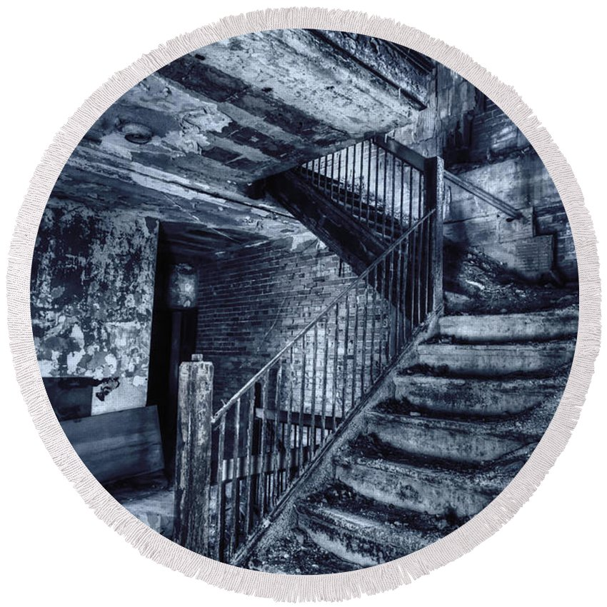 Stairs Round Beach Towel featuring the photograph Dark Staircase by Margie Hurwich