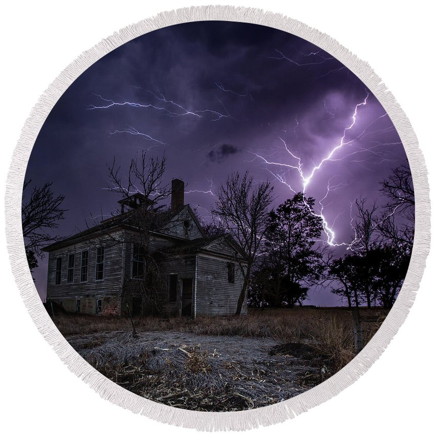 Dark Place Round Beach Towel featuring the photograph Dark Stormy Place by Aaron J Groen