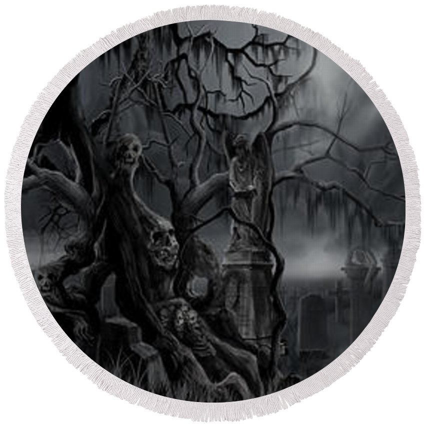James Christopher Hill Round Beach Towel featuring the painting Darkness Has Crept in the Midnight Hour by James Christopher Hill