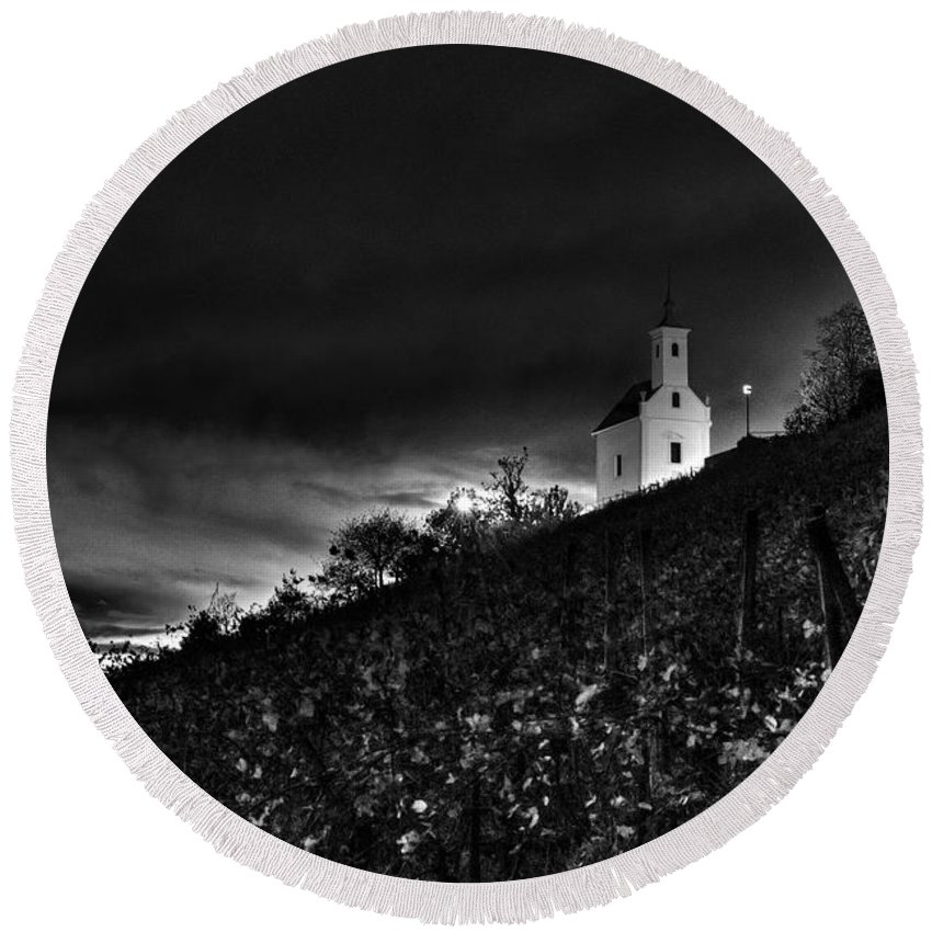 Vineyard Round Beach Towel featuring the photograph Darkness by Ivan Slosar