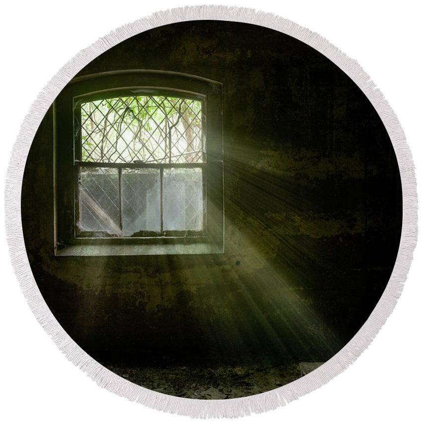 Old Window Round Beach Towel featuring the photograph Darkness Revealed - Basement Room Of An Abandoned Asylum by Gary Heller