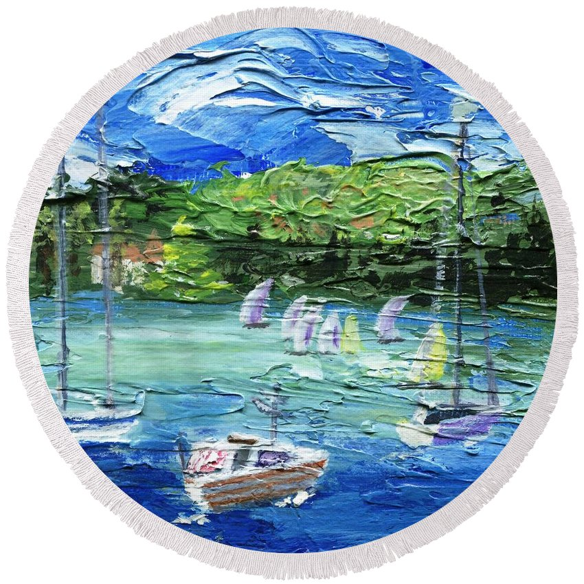 Impressionistic Round Beach Towel featuring the painting Darling Harbor II by Jamie Frier