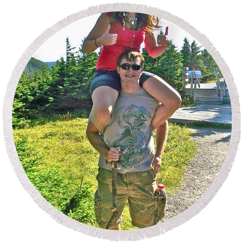 Darling Young Couple From Saskatchewan On Skyline Trail In Cape Breton Highlands Np Round Beach Towel featuring the photograph Couple From Saskatchewan On Skyline Trail In Cape Breton Highlands National Park-nova Scotia-canada by Ruth Hager
