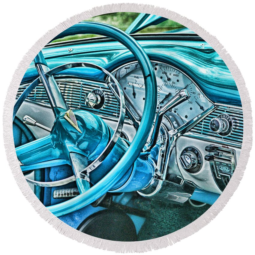 Cars Round Beach Towel featuring the photograph Dashboard-hdr by Randy Harris