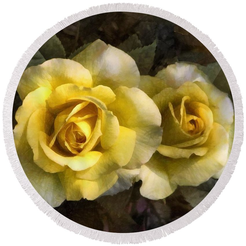 Roses Round Beach Towel featuring the painting Daughters Of Midas by RC DeWinter