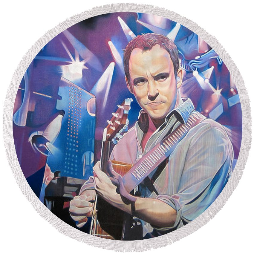 Dave Matthews Round Beach Towel featuring the drawing Dave Matthews And 2007 Lights by Joshua Morton