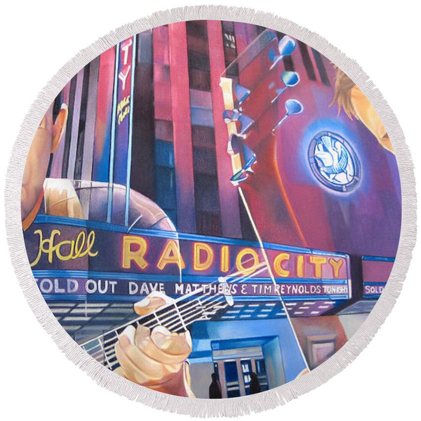 Dave Matthews Round Beach Towel featuring the drawing Dave Matthews And Tim Reynolds At Radio City by Joshua Morton