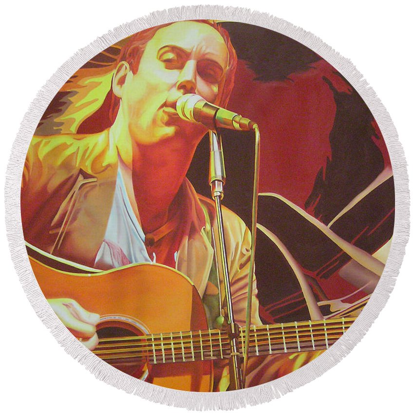 Dave Matthews Round Beach Towel featuring the painting Dave Matthews At Vegoose by Joshua Morton