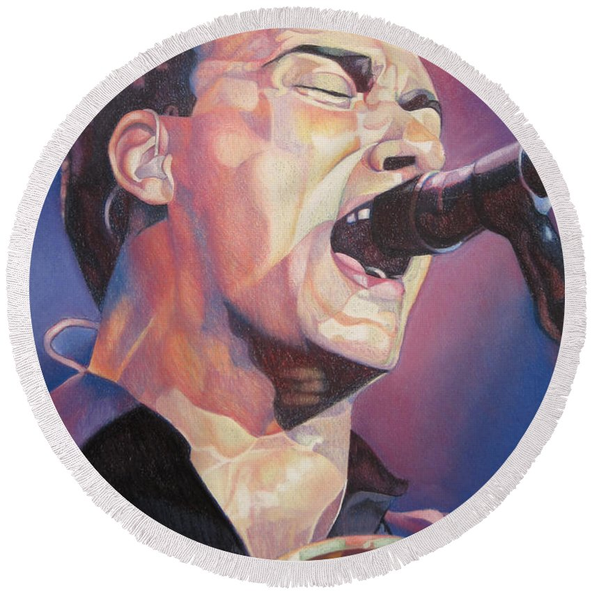 Dave Matthews Round Beach Towel featuring the drawing Dave Matthews Colorful Full Band Series by Joshua Morton