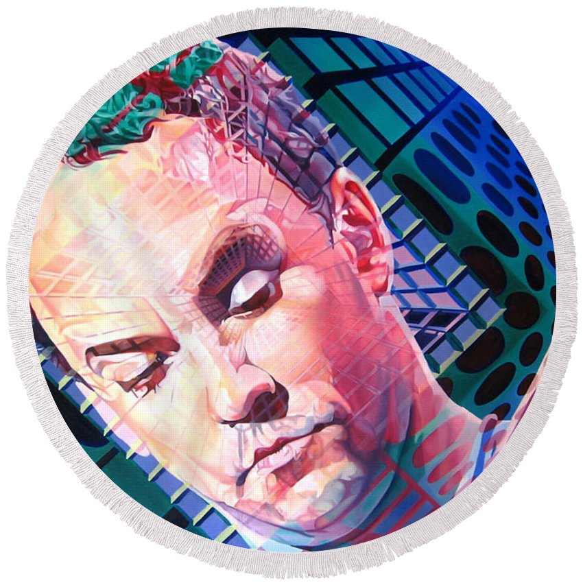 Dave Matthews Round Beach Towel featuring the painting Dave Matthews Open Up My Head by Joshua Morton