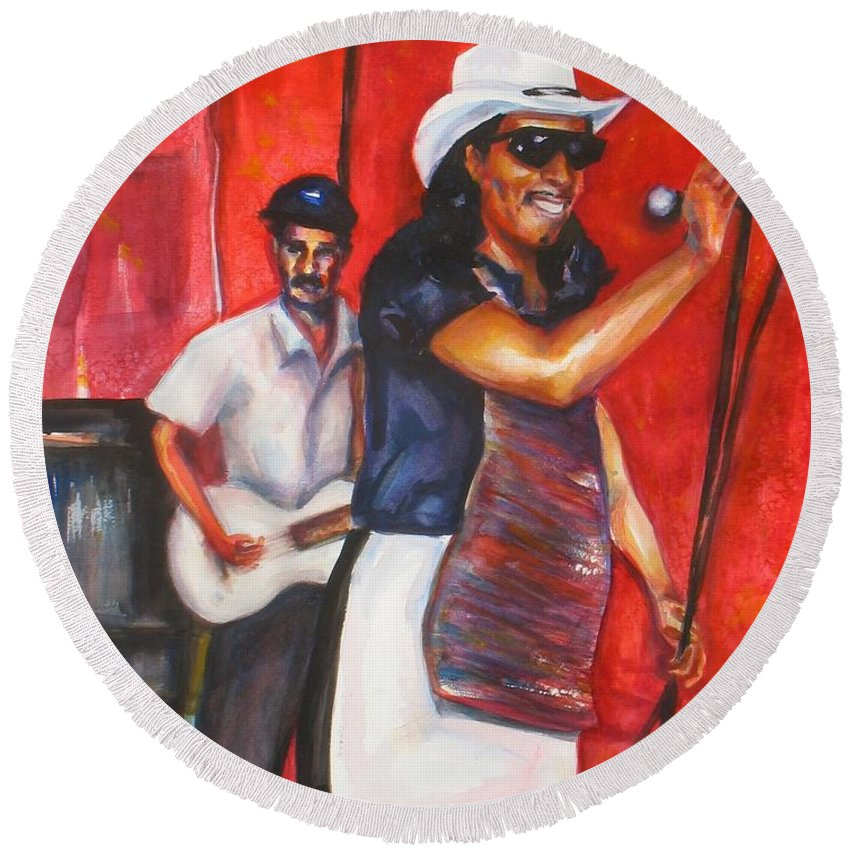 Watercolor Round Beach Towel featuring the painting David And Buck by Beverly Boulet
