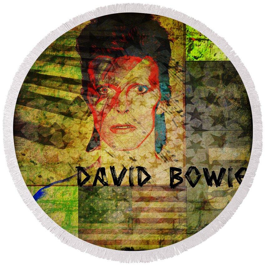 David Bowie Round Beach Towel featuring the digital art David Bowie by Absinthe Art By Michelle LeAnn Scott
