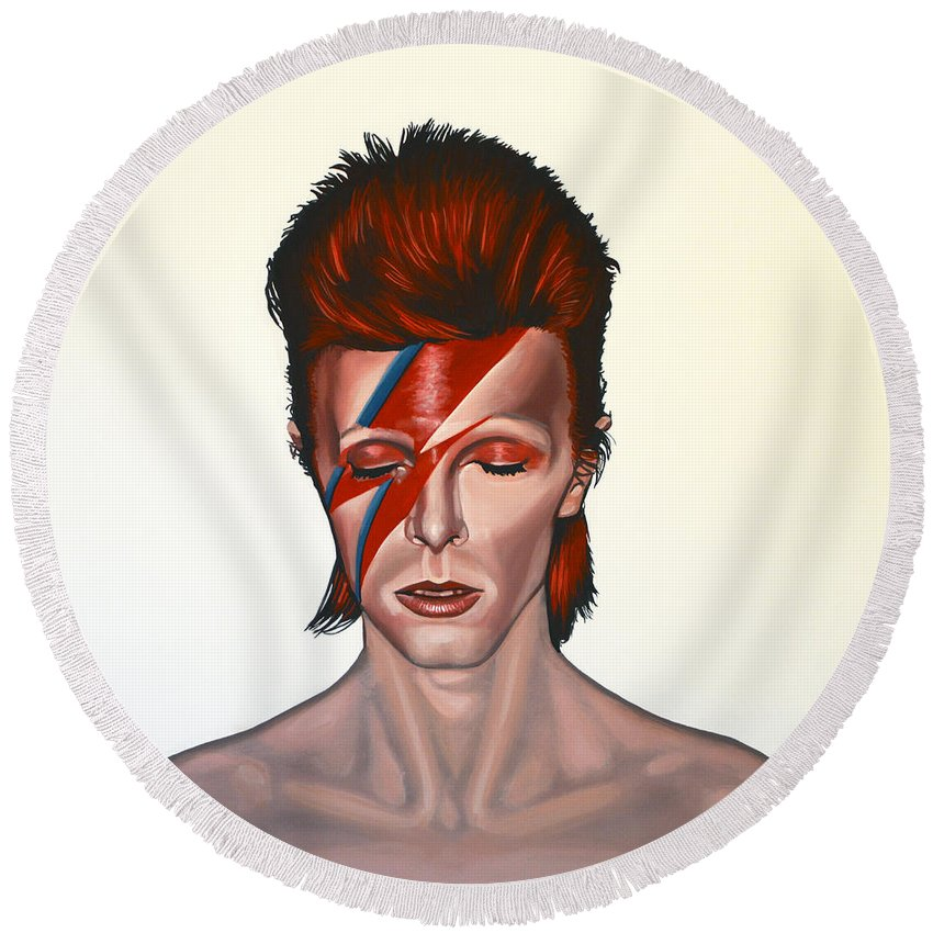 David Bowie Paintings Round Beach Towels