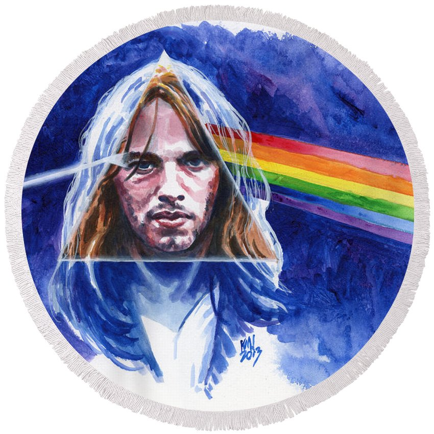 Pink Floyd Round Beach Towel featuring the painting David Gilmour by Ken Meyer jr